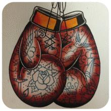 tattooed gloves boxing event
