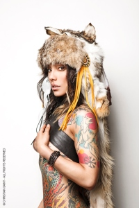 Tattoed model Ginzilla photographed by Christian Saint.