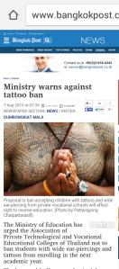tattoo ban in Thailand