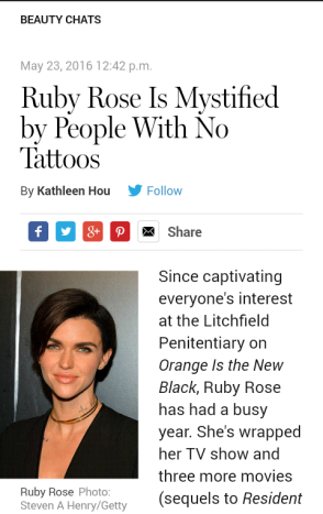 ruby rose and tattoos